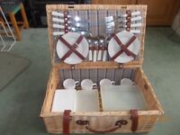 Wicker Picnic Basket with four settings
