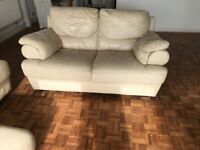 FREE TO COLLECT Three & two seater leather sofa with footstall