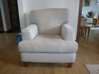 Two fabric material covered armchairs, made for M&S. Taupe in colour. Excellent condition.