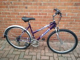 ladies mountain bike with free D lock, new seat and post