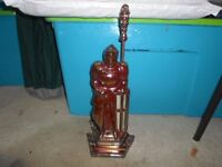Great Vintage Cast Iron Knight Fire Companion Set Holder With Poker/phone calls only