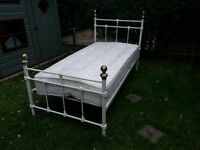 Classic metal Single bed, matress and matching lamp. Good condition.