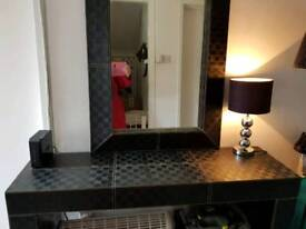 Black check console table with matching mirror