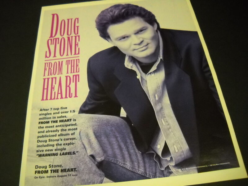 DOUG STONE comes FROM THE HEART 1992 Promo Poster Ad mint condition