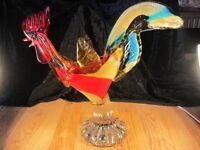 "Large Vintage Italian Murano Glass Cockerel from 1960's ""Very rare"""