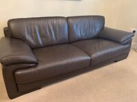 3 and 2 seater brown leather sofa £100