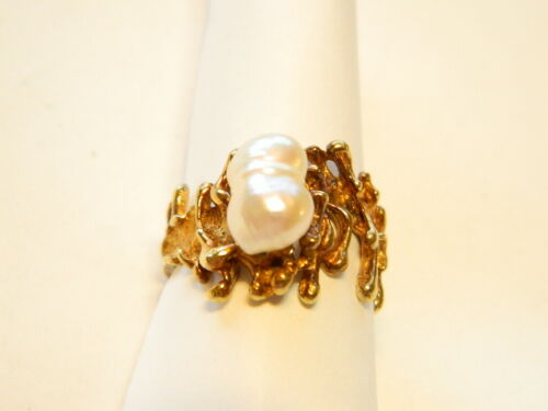 Vintage 14k Gold Baroque Pearl Ring Natural Design Looks Like Coral Size 6.75