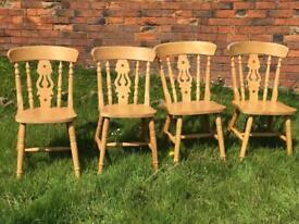 Four wooden pine beech wheelback chairs