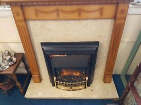 Wooden Fireplace with Marble Hearth/Back Panel and Fire
