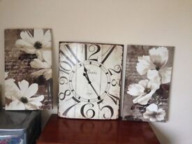 Large Clock and coordinating pictures