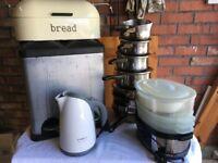 Kitchenware Items, Pans, Kettle, Bin, Steamer, Breadbin