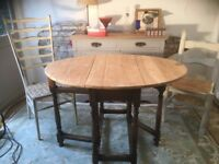 Oak Antique Stripped Top Table Chunky Extendable drop leaf Dining Kitchen Table