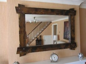 HAND MADE RUSTIC WOODEN MIRROR (NEW)