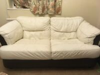 Leather corner sofa, 2 seater and storage foot stool
