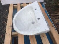 Basin, sink, bathroom, new, white, 600mm wide, two tap holes