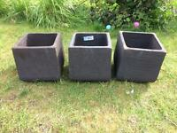 3 black terracotta garden plant pots