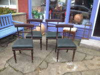 Beautiful Matching Set of 4 Victorian Solid Mahogany Newly Upholstered Green Leather Dining Chairs