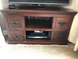 Dark wood tv corner unit + matching cd/dvd stand