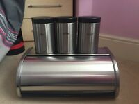 Brabantia stainless steel bread bin and 3 cannisters
