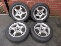 """Set of four 16"""" alloy wheels and 205/55 16 tyres off a Seat Leon"""