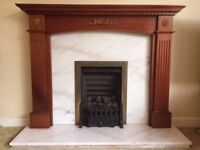 Fireplace - solid marble with solid mahogany surround