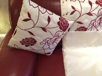 Cream Curtains with Red flower design