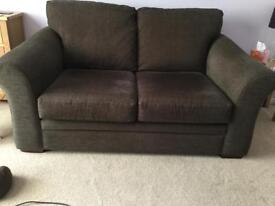 NEXT brown fabric two seater sofa and chair