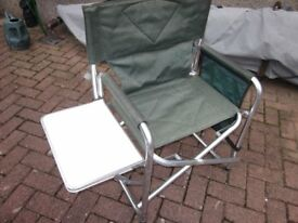 Two Green Director chairs with folding shelf great for motorhome or campervan