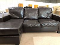 small leather effect corner sofa dark brown perfect for smaller rooms