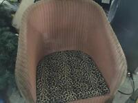 Lloyd loom style wicker chair with stool