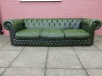 A Large Green Leather Chesterfield Three Seater Sofa Settee