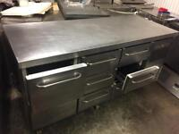 Bench fridge 8 drawer with table top for restaurant bar cafe shop