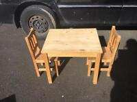 Children's solid pine table and chairs