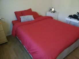 [PERFECT CONDITIONS] Red Duvet Cover (Double) + 2 Pillow Cases + Fitted Sheets