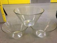 3x glass bowls