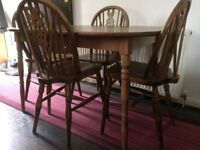 Wooden dining table with four chairs set