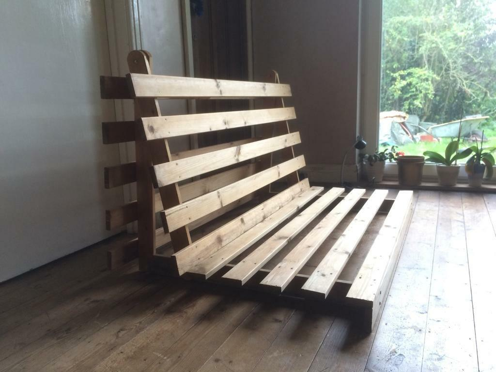 Solid Pine Wood Double Futon 2 3 Seater Sofa Bed Base Can Deliver