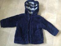 Baby boys navy next teddy bear coat age 9-12months