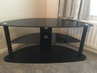 Perfect Condition Black and Chrome Glass TV Stand for up to 50 inch TV