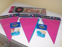 Rock n Roll Party-3 x Packs of Flags 1 x Large 25ft Banner + Cocktail Sticks 1950's 1960's