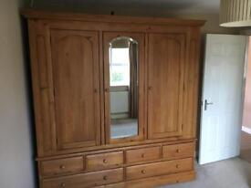 Solid pine wardrobe , triple door with 6 drawers