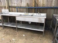 Stainless Steel Commercial Double Sink with Prep Area