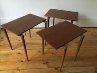 Vintage 1950s Set of 3 Opal Nesting Tables Mid Century Rare Teak Rosewood