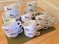 Mokarabia white cappuccino cups and saucers - set of 20 - ideal for cafe or catering outlet