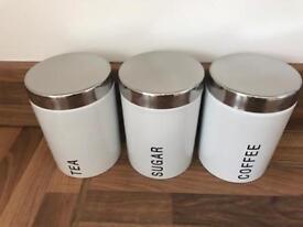 White & Chrome storage jars - Tea, Coffee, Sugar