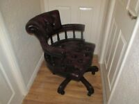 Leather Captains Chair Antique oxblood red buttoned studded