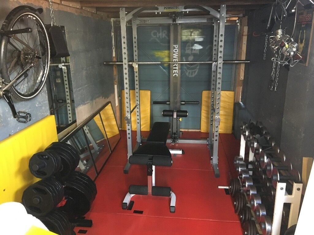Powertec Power Rack Squat Cage With Lat Tower Dip Bars