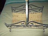 magazine rack,wicker and metal