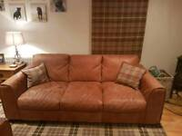 6 MONTH OLD 3 seater brown distressed leather sofa