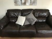 Italian Brown Leather 3 Seater and 2 Seater